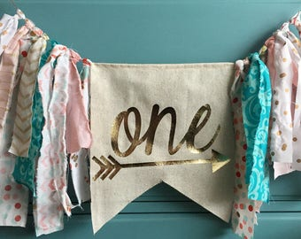 ONE Highchair Banner Rag Tie Banner ONE Banner Garland - First Birthday - Gold Pink Arrow Tribal