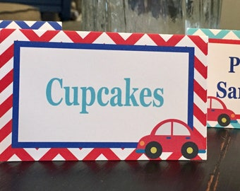 LITTLE CAR Food Labels Table Tents Buffet Cards Signs {Set of 8} - Party Packs Available - Red Blue