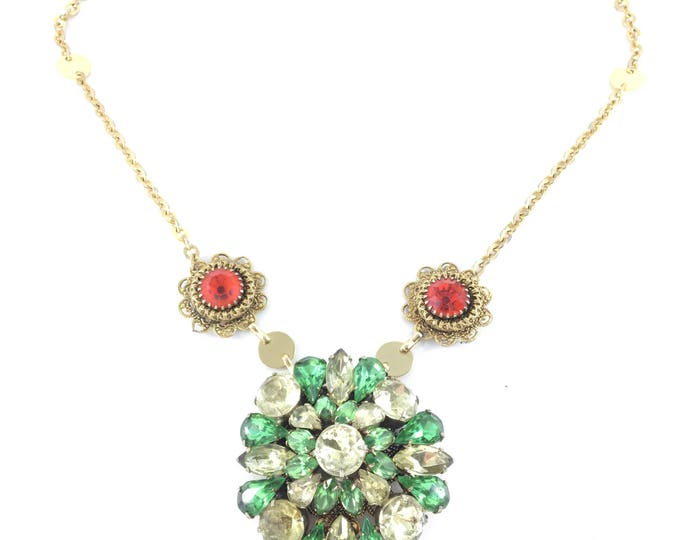 Vintage Green & Yellow Rhinestone Brooch Necklace with Orange Flowers