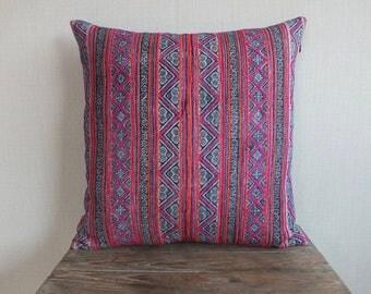 22x22, Vintage Batik Hemp Textile, Decorative Cushion cover, Homespun Hemp Batik, Sofa Cushions & Scatter Cushions