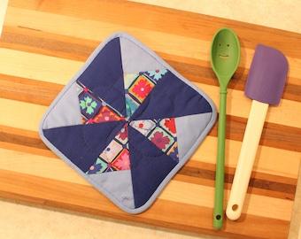 Single Potholder - Blue Teal Eggplant Floral - Mother's Day Holiday Gift
