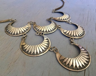 Vintage Sterling Silver Navajo Bib Necklace Layered Half Moon Michael Tahe Signed Native American Fine Jewelry
