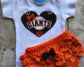 San Francisco Giants  Inspired Shirt and Matching Ruffle Diaper Cover