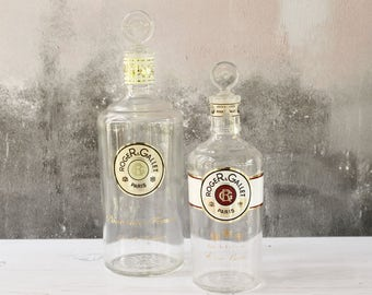 French Perfume Bottles...set of TWO...Roger & Gallet...Eau de Cologne Bottle and Eau de Toilette Bottle.