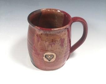 Mug -  handmade ceramic Coffee mug - 16 ounce - Ready to Ship - Red Jasper  - Heart Stamp  - ceramics - pottery - stoneware