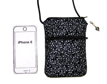 Cell Phone Purse, iPhone Purse, Small Purse, Silver Leaves on Black