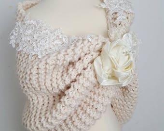 Wedding shawl, bridal shawl, hand knit shawl, knit shrug, bridal wedding stole, ivory capelet, wedding cape, women, wedding shrug