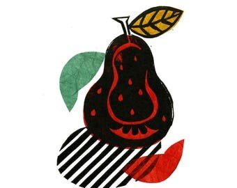 Pear Pop Linocut Print & Chine-collé 1 of 10 (pear design 1)