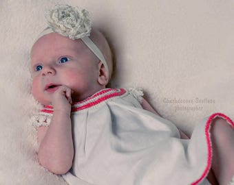 Organic baby infant girl dress, newborn-4 year , flower girl dress, crochet baby dress