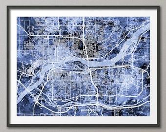 Quad Cities Map, Davenport, Bettendorf, Rock Island, Moline, Art Print (2504)