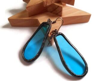 Drop Earrings Dangle Earrings Blue Glass Earrings Stained Glass Earrings Glass Metal Jewelry Handmade Earrings Blue Jewelry Glass Jewelry