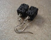 Rectangular Black Lava Stone Earrings, Volcanic Rock, Magma, Earthen Jewelry, Natural Jewelry, Everyday Earrings, Essential Oil Earrings