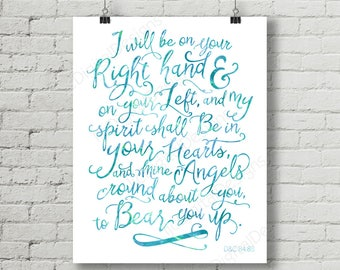 Printable LDS Scripture, D&C 84, I will be on your right hand, Angel Scripture, Digital Printable Word Art Decoration 16x20 INSTANT DOWNLOAD