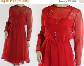 40%OFFSALE 70s Celyce Designs Red Chiffon, Rhinestones, Disco Prom Party Wedding