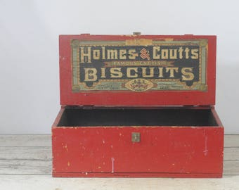 "Antique Wooden Crate Box ""HOLMES & COUTTS Famous English Biscuits"" Advertising"