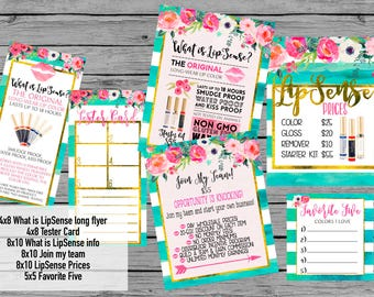 INSTANT DOWNLOAD LipSense Printables Teal turquoise gold Floral watercolor LipSense party bundle package party prints Senegence price list