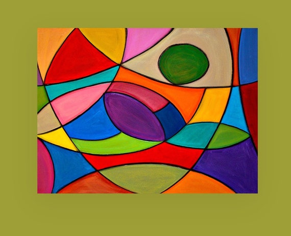 "Bright Colorful Original Abstract Painting Large Wall Art Fine Art on Gallery Canvas Titled: Stained Glass 2 30x40x1.5"" By Ora Birenbaum"