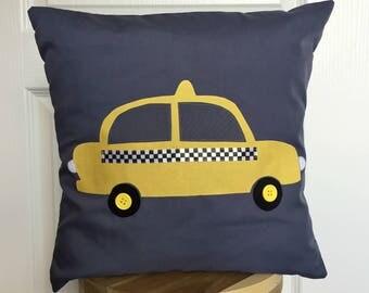 New York Taxi Cushion Cover, yellow taxi design appliqué