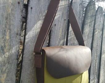 Sale! Handmade Canvas and Leather Messenger Bag/Cross Body Bag