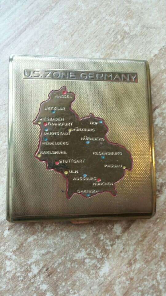 World War II Cigarette Case Map Inlay WWII US Zone Germany Brass - Ww2 us map case