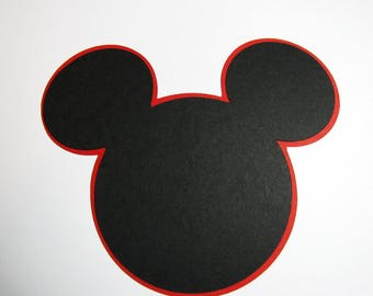"Mickey Mouse ears die cuts w/shadow -  35 pack- 5"" and 35- 5 1/4"" shadow / DIY centerpieces/ favor tags/ wish tags/ labels/ banners"