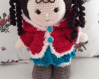 Weebee Doll. Amigurumi. Toddler. Design by Laura Tegg. Dressed Doll. Removeable clothes. Ugg style boots. Dress. Hoodie. Ladybird