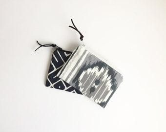 Coin Purse, Small Zipper Pouch, Gadget Case, Zipper Wallet, Change Purse, Pale Pink and Grey Ikat, Black and White geometric