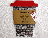 Chalkboard Tiny Alphabet TEACHER Thanks a Latte Gift Card Holder