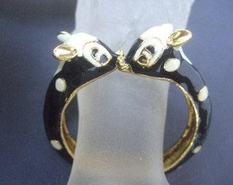 Charming Enamel Hinged Deer Bangle Bracelet