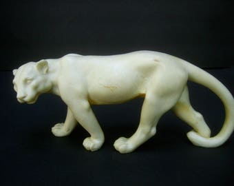 Exotic Figural Vegetable Ivory Panther Statue