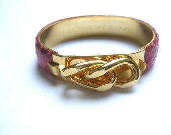 Sleek Gilt Metal Fuchsia Snakeskin Bracelet Made in Italy