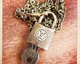Authentic Vintage 60s LOUIS VUITTON Lock on Vintage Brass Chain with Victorian Hand Necklace Lanyard Luxury OOAK