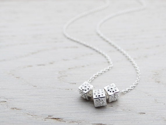 Silver Cube Beads Necklace - Sterling Silver