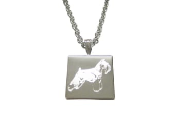 Silver Toned Etched Scottish Terrier Dog Pendant Necklace
