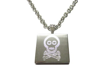 Silver Toned Etched Shy Skull with Crossbones Necklace