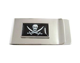 Thin Bordered Black Pirate Skull Money Clip