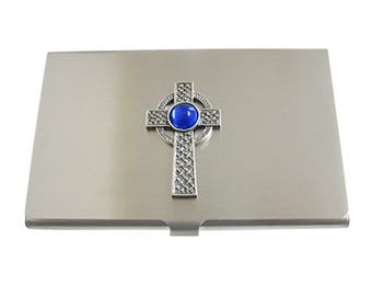 Textured Large Celtic Cross with Blue Center Business Card Holder
