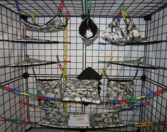 17  Pc  - Money Fabric Print - Sugar Glider Cage Set