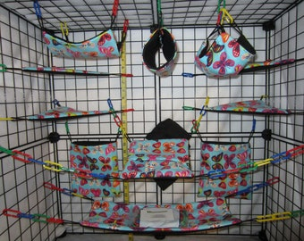 17  Pc  -  Butterfly on Light Blue - Sugar Glider Cage Set