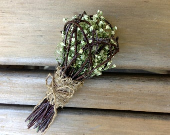 Wedding Boutonniere -Twig Nest Boutonniere- Love Nest Boutonniere -Birch, Baby's Breath & Customizable Fillers