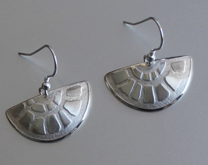 Fan Earrings, Sterling Silver Earrings, Silver Jewellery.