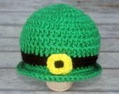 Baby Leprechaun Hat, Newborn St. Patrick's Day Hat, Photo Prop, Knit Crochet, St. Patty's Day, Baby Gift