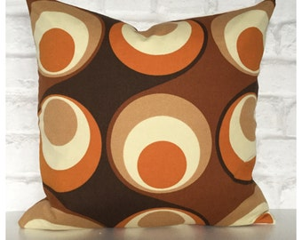 """Vintage Retro 70s Psychedelic Brown & Orange  Cushion Cover 16"""" x 16"""" Retro Throw Pillow Cover"""