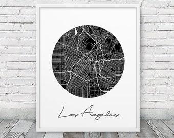 Los Angeles Urban Map Poster. Los Angeles City Street Map Print. Black & White Los Angeles California Print. Geometric Decor. Printable Art