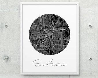 San Antonio Urban Map Printable. San Antonio City Street Map Poster. Black White San Antonio Texas Print. Travel Home Decor. Printable Art