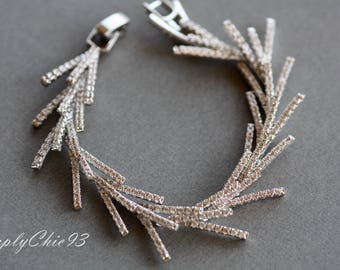 Zircon Micro Paved bridal jewelry , Geometric Crystal Bracelet ,Stick Branch Icicle Drop Bangle Bracelet Wedding Cuff ,Art Deco Jewelry