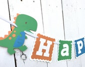 Dinosaur birthday Banner/ Dinosaur Garland/ 1st Birthday/ Orange/ Blue/ Green / Yellow/ Custom Made Banner/ boys's birthday/ Party Package