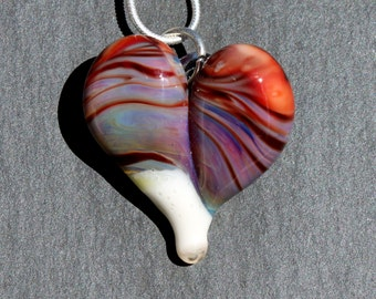 Heart Necklace Glass Jewelry, Flamework Pendant Lampwork Boro, Hand Blown Red Purple Necklace