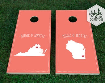 Wedding Cornhole Set | Maps | Heart Marks the Spot | States | USA| International | Distance | Love | Custom | Baggo | Corntoss