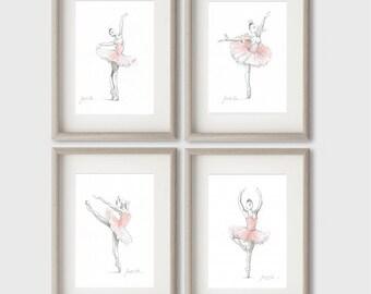 Set of 4 Prints, Ballerina Art, Pink Ballerina, Watercolor Ballet, Ballet Drawing, Pink Tutu, Ballet Art, Ballet Painting, Ballerina Picture